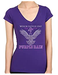 When Doves Cry Purple Rain Rhinestone/ stud Womens T-Shirts
