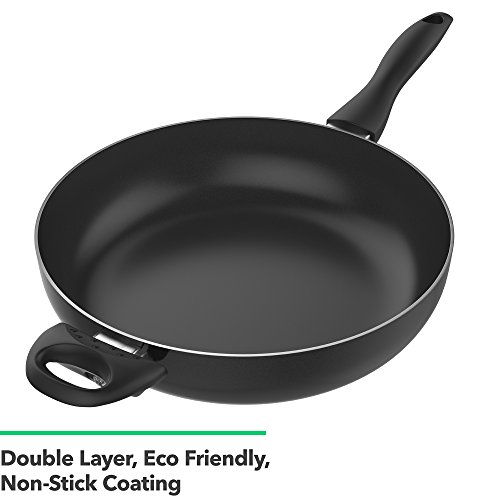Vremi 12 Inch Nonstick Saute Pan Covered with Tempered Glass Lid - Big 5 Quart Capacity for Stir Fry Frying or as Saucepan - Non Stick Saute and Frying Pan - Deep Large and Ovenproof - Black by Vremi (Image #3)