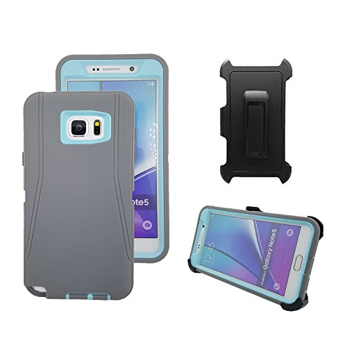 Cover Case Blue Protector (Galaxy Note 5 Case, Harsel Defender Heavy Duty Tough Shockproof Scratch Resistant Full Body Protective Military w' Belt Clip Built-in Screen Protector Case Cover for Galaxy Note 5 - Gray Light Blue)