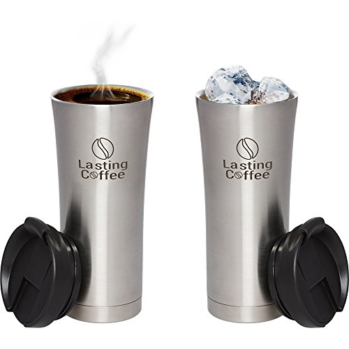 Lasting connoisseur coffee Leak Proof Dishwasher protected 2 Wall clean Insulated Stainless stainless steel and leisure Mug 16 oz Silver Commuter and leisure Mugs