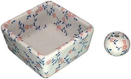 和モダン カントリーフラワー お香立て 陶器 角鉢 製造直売品