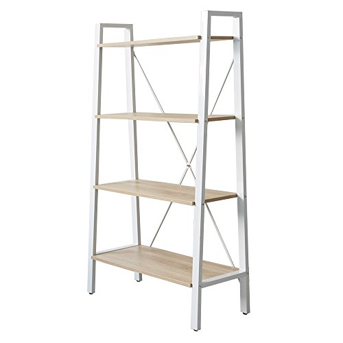 New Bookcase Metal Powder - KARMARS PRODUCT 4-Tier Ladder Industrial Bookcase Wood and Metal Open Bookshelf for Collection Home Office Storage Furniture,Size 52.6
