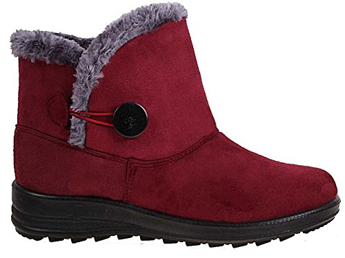 Ladies Cushion Walk Faux Suede Warm Faux Fur Lined Casual Comfort Ankle Boot Shoe Size 3-8 Burgundy