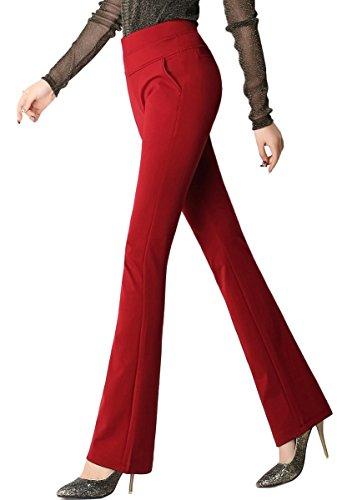 Smibra Womens Elastic Knit High Waist Bootcut Pants Super Comfy Dress Long Slacks