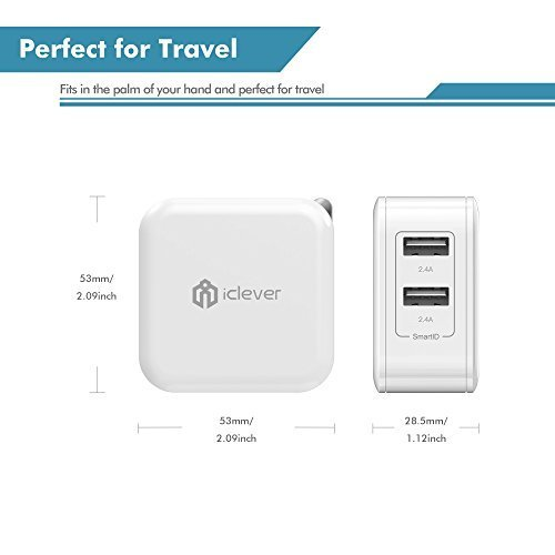 iClever BoostCube 24W Dual USB Wall Charger with SmartID Technology Foldable Plug Travel Power Adapter for iPhone XsXS MaxXRX8 Plus87 Plus76S6 Plus iPad Pro AirMini and Other Tablet