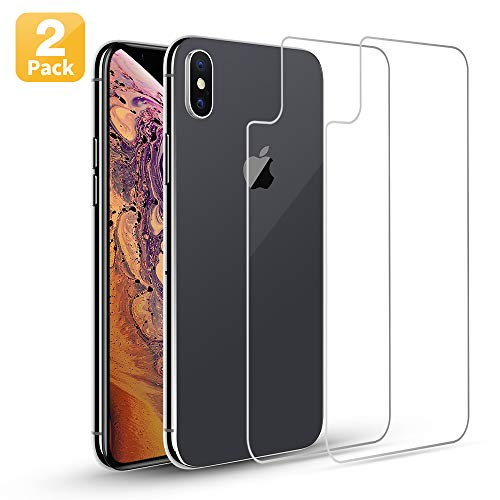 Maxdara Back Glass Screen Protector for iPhone Xs Max Back Screen Protector 6.5 inches 9H Hardness Ultra-Thin Touch Accurate [Anti-Fingerprint] [Anti-Scratches] [Case Friendly], [2 ()