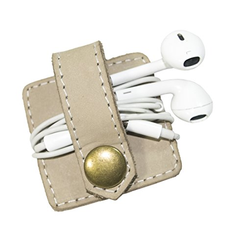 Durable Leather Headphone Wrap With Snap Handmade By Hide  Drink :: Beige