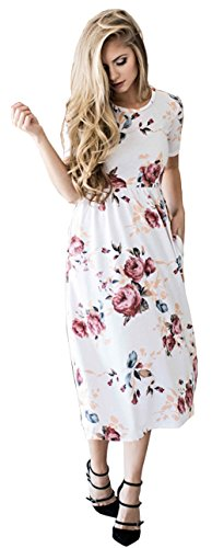 Women's Vintage Boho Floral Maxi Dress Short Sleeve Party Cocktail Summer Sundress White-M
