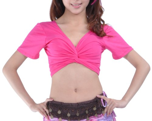 [BellyLady Belly Dance Short Sleeved Wrap Top, Top For Christmas ROSERED] (Dance Hire Costumes)