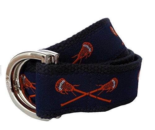 No27 Men's Lacrosse Belt XL Orange and Navy Lacrosse Sticks on Navy