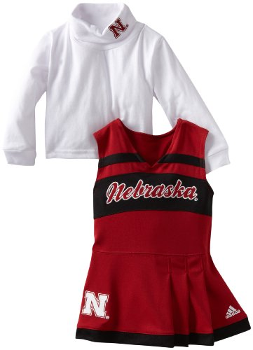 Outerstuff NCAA Nebraska Cornhuskers Toddler Cheer Jumper Dress with Tank (Red, 3T) - Scarlet Youth Two Piece