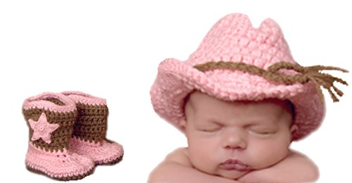Melondipity's Girl Cowboy Hat and Booties Set for Newborn Girls ()