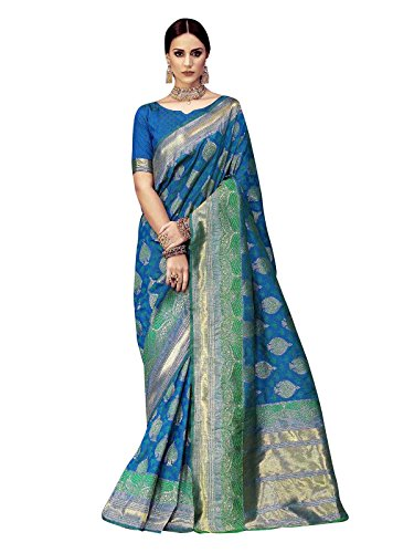 Turquoise Blue Sari (ELINA FASHION Sarees for Women Banarasi Art Silk Woven Saree l Indian Wedding Wear Sari (Turquoise 1))