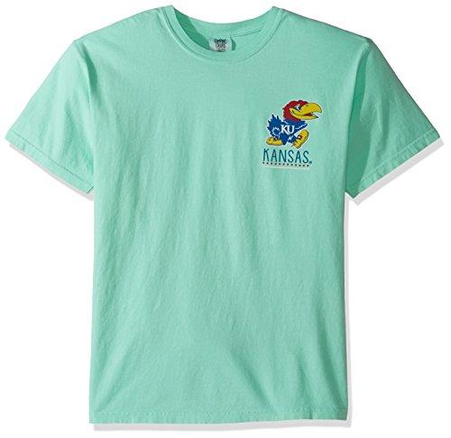 NCAA Kansas Jayhawks Life Is Better Comfort Color Short Sleeve T-Shirt, Island Reef,IslandReef