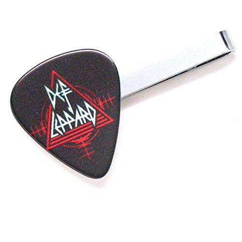 Def Leppard Tie Bar Clip Guitar Pick British England White Steel Music Rock Solo Musician Teacher Band Suit Accessories Concert