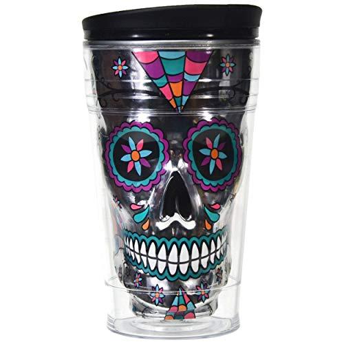 Sugar Skull Tumbler Insulated 18 Ounce Coffee Travel Mug, Day of the Dead (Silver Smoke)