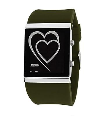 Fashion Digital LED Big Dial Waterproof Fashion Sport Mens Womens Unisex Wrist Watches AmyGreen