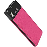 Portable Power Bank MEZONE Real 10000mAh Quick Charge 3.0 with 2-USB Ports, LCD Digital Screen, External Battery Charger for iPhone iPad Samsung Smart Phone Tablet (Hot Pink)