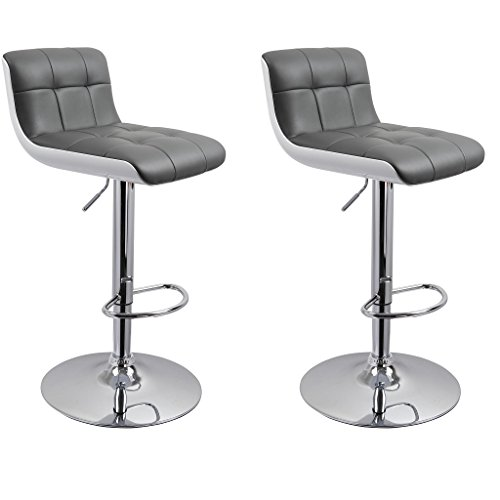 205 Leather - Duhome WY-205 Faux Leather and ABS Plastic Bar Stools Set of 2 Kitchen Counter Height Adjustable Chairs (Grey+White)