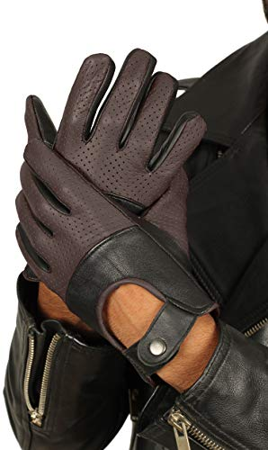 Brown Leather Driving Gloves for Men - Mens Winter Deerskin Leather Gloves (S) - Dress Deerskin