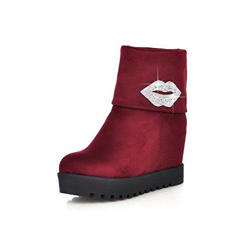 AgooLar Damen Ziehen auf Hoher Absatz Blend-Materialien Rein Mitte-Spitze  Stiefel Rot