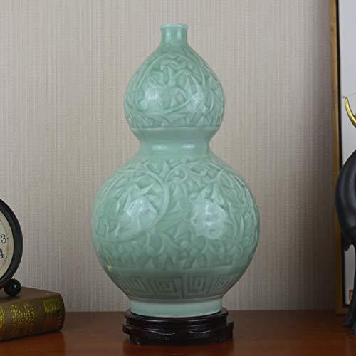 - caoleijingpin Creative vases Decorations Wine Cabinet Decoration Restaurant Flower Arrangement Jingdezhen Ceramics Ceramics Wedding Gifts Carved Celadon Gourd Bottle to Send The Base