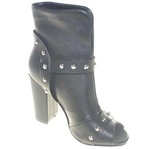 Shoes Doppio Apertura Con Nero Borchie Open Frontale Donna Tronchetto Malu Scollato E Tacco Toe dZwqH7UHYn