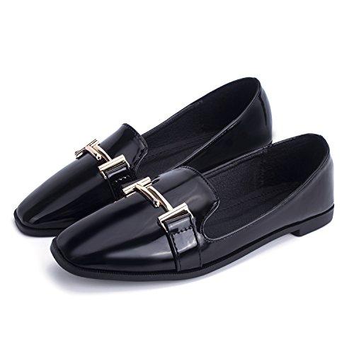 À Double Métal T Tête Ronde Jachère Plat Travail Confortable Femmes Florata Chaussures Nues Peu Profondes Glissent Sur Le Noir