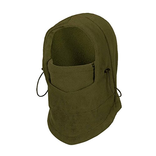 Greenery Thicken Fleece Balaclava Hat Hood Double Layers Police Swat Ski Bike Wind Proof Mask Winter Outdoors Warm Caps Neck Warmer (ARMY GREEN)