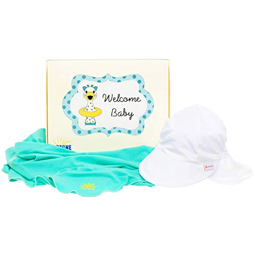 Nozone Sun Protection Baby Gift Box Set - Blanket and Flap Hat - Bali Hai/White, 9-18 Months