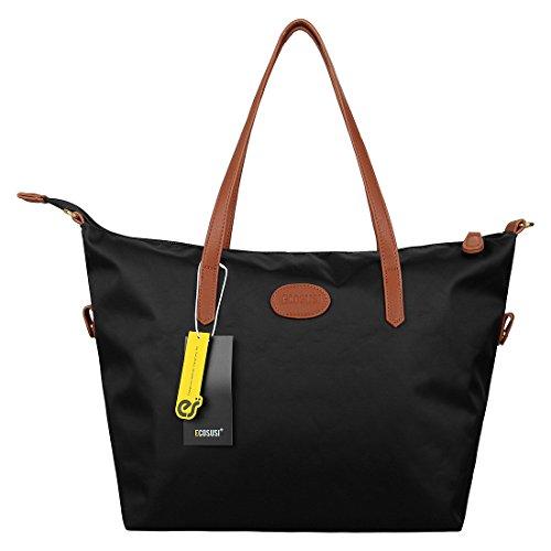 ECOSUSI Women Fashion Nylon Shoulder Tote Bag Medium Travel Handbags Black Purse