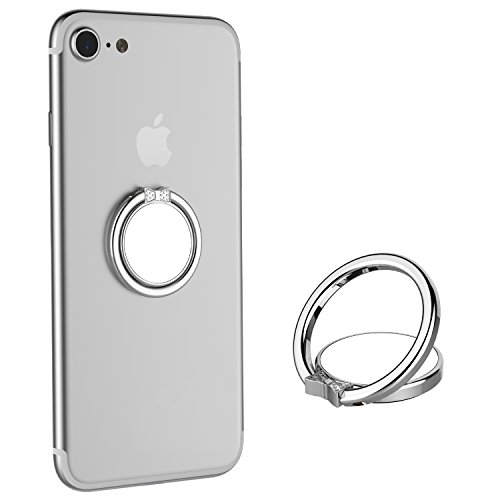ICHECKEY 2PCS Smart Phone Ring Holder Mirror Series Stylish 360° Adjustable Ring Stand Grip Mount Kickstand for iPhone 7/7 Plus, Galaxy S8/S8 Plus and Almost All Cases/Phones (Silver)