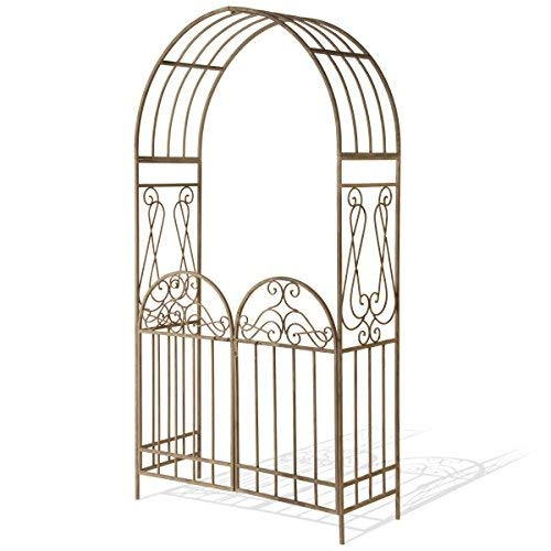 National Tree 93 Inch Garden Accents Metal Collection Rust Brown Arch with Gate (GAMC30-93RB)