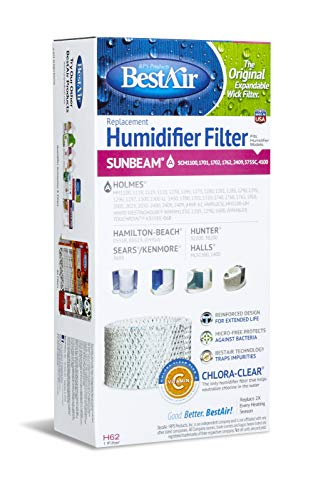 BestAir H62-PDQ-4 Extended Life Humidifier Replacement Paper Wick Humidifier Filter, For Holmes, Sunbeam, Touch Point, Halls, White-Westinghouse & Hamilton-Beach Models, 4.5