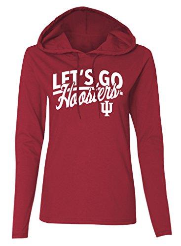 NCAA Indiana Hoosiers Women's Long Sleeve Hooded T-Shirt, Crimson, XX-Large (Indiana Fan Hoosiers)