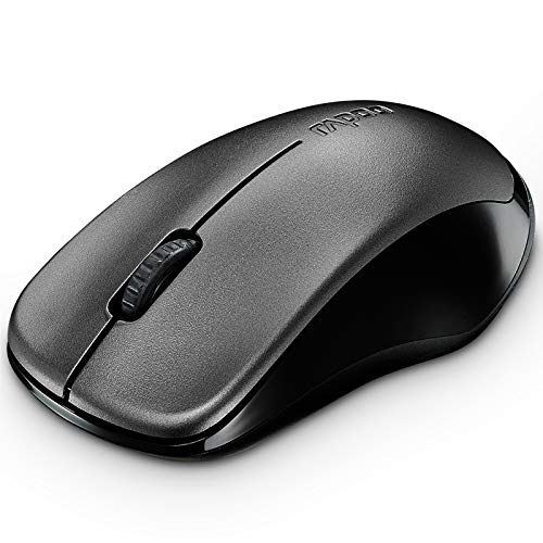 RAPOO 2.4G Silent Wireless Mouse, Portable USB Receiver, Long Range and Battery Life, Suitable for Desktop Computers Laptops, All-Day Comfort-Black