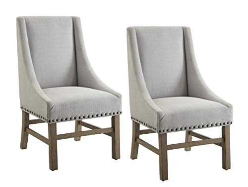 Florence Upholstered Dining Chairs with Nailhead Trim Grey and Rustic Smoke (Set of 2)