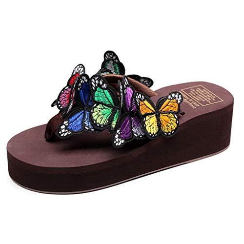 OTOSU Women's Platform Beach Butterfly Flip Flops Lightweight Nonslip Eva Mid Heel Wedges Thong Sandals (Flip F230)