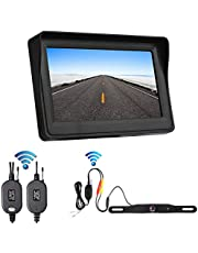 OBAST Wireless Backup Camera and Monitor Kit - Rear View Reversing License Plate Camera with Waterproof Night Vision and 4.3 ' LCD Wireless Monitor Power One Cigarette Lighter