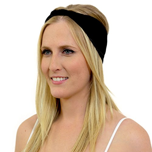 - KOOSHOO ORGANIC BLACK HEADBAND Black Sports & Yoga Headband Made From Sweat Wicking Organic Cotton | Ethically Made | Best Black Headwrap for Comfort, Style and the Environment