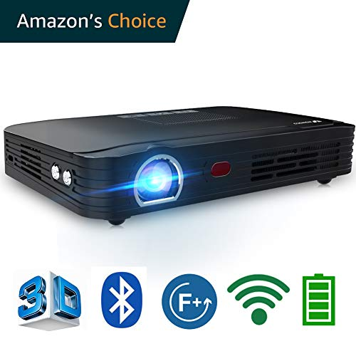 1080p 3d Package - WOWOTO T8E Full HD Mini Portable Projector WiFi&Bluetooth Home Theater Projector Support 1080P Max300 DLP 3D Video Projector Built in Battery 7800mAh Android System for Gaming Business&Education