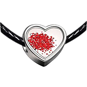 Chicforest Silver Plated Lovely Red Heart Tree Photo Heart Charm Beads Fits Pandora Charm Bracelet
