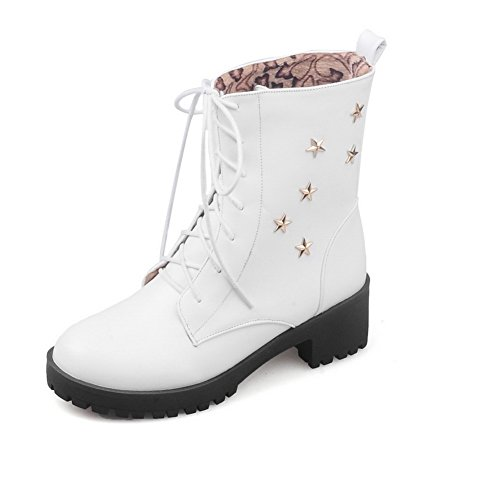 Leather Imitated Toe Round Up AdeeSu Boots Lace Solid White Girls wYAvq0SR