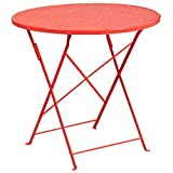 MFO 30'' Round Coral Indoor-Outdoor Steel Folding Patio Table