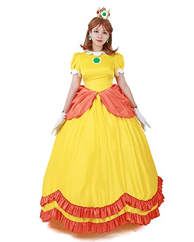 Miccostumes Women's Yellow Princess Daisy Cosplay Costume Dress (Women -