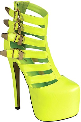 Lolli Couture FAUX LEATHER MULTI STRAP HIGH HEEL PUMPS Yellow FXje8FDb