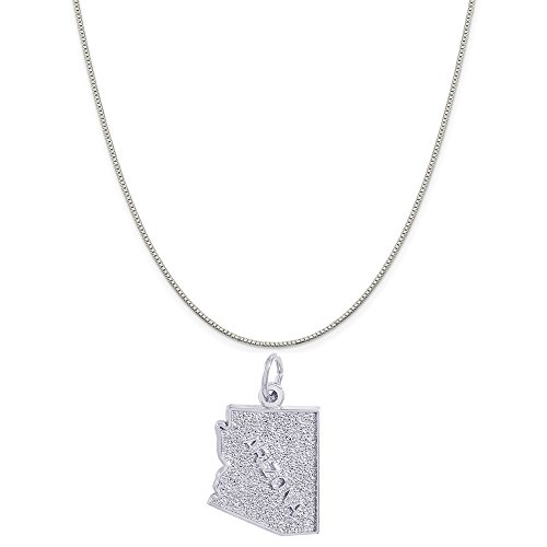 Rembrandt Charms 14K White Gold Arizona Charm on a 14K White Gold Box Chain Necklace, 18