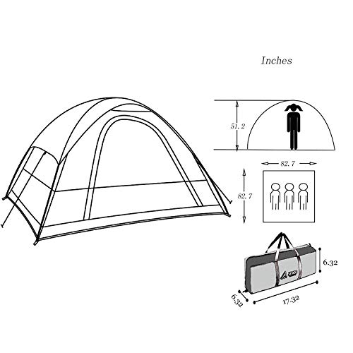 Semoo Water Resistant, 2-3 Person, 1 Door, 3-Season Lightweight Tent for Camping with Carry Bag
