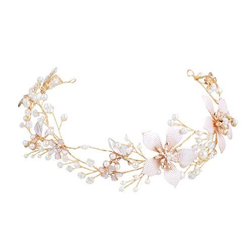 SWEETV Floral Bridal Headband Rhinestone Wedding Headpiece Gold Hair Vine for Brides Birdal Hair Accessories