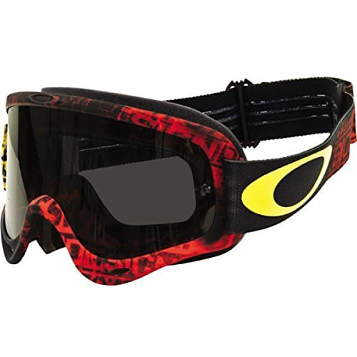 Oakley Red Ski Goggles (Oakley O Frame MX Sand Distress Tagline Adult Off-Road Motorcycle Goggles Eyewear - Black Red/Yellow W/Dark Grey / One Size Fits All)